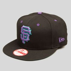 premium selection 434ea bef72 SF Giants New Era Snapback in Excelsior Black New Era Snapback, Purple  Teal, Playground