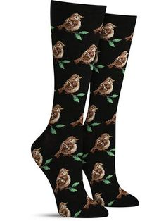 Bird watchers will recognize the sparrow on these cool animal socks, resting for just a moment on a delicate branch before flitting off. One of the most common birds in the world, the sparrow still deserves a moment of pause when it sings its sputtering, pretty tune — or when it looks as great as the ones on these lovely crew socks!   Crew length Fits women's shoe size 5-10 Contents: 46% Cotton, 31% Polyester, 21% Nylon, 2% Spandex  by Hot Sox