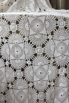 Vintage French Lace Crochet Old Bed Cover Coverlet Off White Cotton 72x78 | eBay