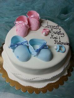 Tort na chrzciny Mai i Piotrusia - galeria tortów na chrzciny