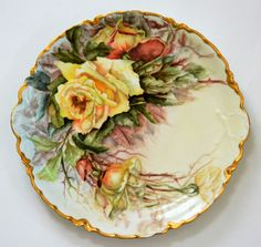 "LIMOGES FRANCE 13"" HAND PAINTED ROSES PLATE CHARGER"