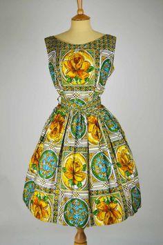 1940s Vintage Dress by Dorothy Perkins Green and Gold Rose Design | Mela Mela Vintage