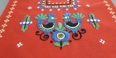 Vintage Hand Embroidered Red Table Runner, 40x93cm / 15.7x36.6in Large Tablecloths, Table Toppers, Table Runners, Red Color, Rooster, Cross Stitch, Colours, Shapes, Handmade