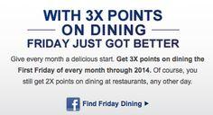 Chase Sapphire Preferred Extends First Friday Favorites 3X Restaurant Rewards through 2014.