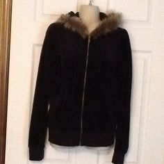 Selfsteem fur hooded jacket 60% cotton 40 Polyester Made in China.  Junior size Large, fits more like a small.  feels like velour.  Black with brown and black fur hood.  zips up front with two pockets in front. Selfesteem Jackets & Coats