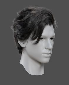 Zbrush Hair, Character Modeling, 3d Modeling, Wavy Hair Men, Hair Reference, How To Draw Hair, Face Hair, Male Face, Haircuts For Men