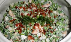 Old Fashioned Cold English Pea Salad - made up of frozen or canned peas, mixed, at minimum, with celery and onion, and dressed with a mayonnaise or sour cream based dressing. I've added some bacon, dill and cashews in mine here, but it's wide open for personalization.