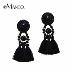 eManco Hot Now Ethnic Bohemia Tassel Statement Dangle Drop Earrings for Women Black Resin Button Crystal Beads Jewelry >>> Details can be found by clicking on the image.