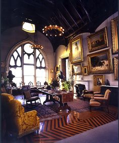 The Librarian's sitting room, his favorite room in the house where the sirens of NYC can't penetrate. Lyndhurst, the grand gallery. This gothic mansion is registered as a national historical site in Tarrytown, New York. https://thetastefulgoth.wordpress.com