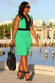 Curves and Confidence | Dressed For Success | Dress - Calvin Klein | Sandals - DebShops | Purse - Target |