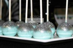 Silver topped cake pops at a Tiffany blue baby shower #tiffanycakepops #babyshower