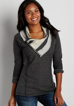pullover sweatshirt with cowl neck and zipper