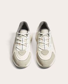 Image 3 of WHITE AND GREY SNEAKERS WITH THICK SOLES from Zara