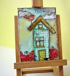 paper pieced house mixed media artwork by busygirlart on Etsy, $10.00