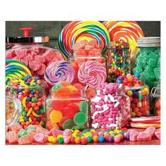 Colourful candy display for Willy Wonka candy shop themed lolly buffet. Candy Themed Party, Party Themes, Candy Land Party, Party Ideas, Candy Table, Candy Buffet, Lolly Buffet, Anniversaire Candy Land, Chocolate Bonbon