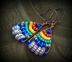 Rare African Awale Chevron Glass, Vinyl and Seed Bead Weaved Earrings