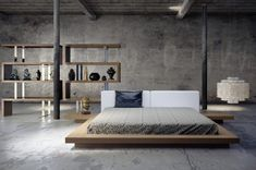 Low bed platforms are a popular choice for modernist bedrooms, especially the ones influenced by traditional Japanese and Korean design. The contrast between modern design and traditional inspiration strikes quite a contrast in this fully concrete bedroom.