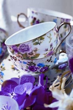 Tea:  Floral teacups and saucers.