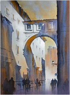 "very simple brushstrokes in the light areas. ""off the via del corso - rome"" thomas w schaller watercolor 30x22 inches 24 march 2014"