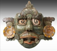 Máscara Sol Jaguar del Inframundo, Palenque Jaguar, Jade, Character Portraits, Art And Architecture, Buddha, Lion Sculpture, Statue, Christmas Ornaments, History