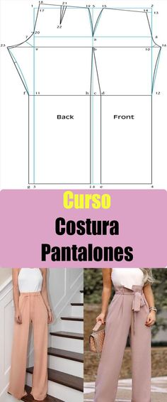 Complete course or line of easy sewing pants … - DIY Clothes Sweater Ideen Sewing Pants, Sewing Clothes, Diy Clothes, Dress Sewing Patterns, Clothing Patterns, Pants Pattern, Clothing Items, Refashion, Dressmaking