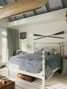 Coastal Cottage Master Bedroom Design, Pictures, Remodel, Decor and Ideas - page 8. Look at the boat hung up! I like the blue grey ceiling,