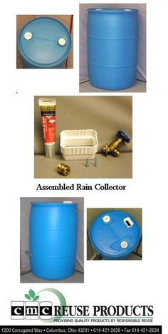 DIY - Make your own rain collection, barrel, catchment, harvest system using 55 gallon blue barrels purchased in Columbus, OH.  http://www.cmcreuseproducts.com/products.html