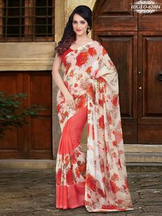 Pink & Cream Colour Georgette Printed Saree With Unstitched Blouse