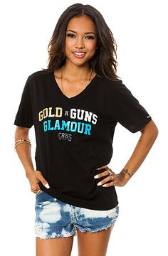 The G3 V-Neck Tee in Black by Crooks and Castles. Rep the 3G's and rep 'em hard. Gold, Guns and Glamour of course. Check out this mega-soft v-neck tee for only $24