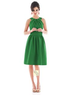 US $84.99 | (FITS018631 )A-line Scoop Sleeveless Knee-length Satin Green Bridesmaid Dress / Cocktail Dress / Homecoming Dress