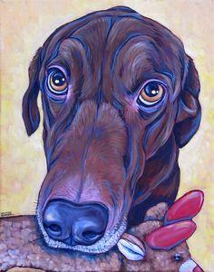"Georgeie the Brown Lab Dog Custom Pet Portrait Painting Acrylic Paint on 11"" x 14"" Canvas from Pet Portraits by Bethany. #dogart #petportrait #custmopetportrait #dogportrait #labrador #dogtoy"