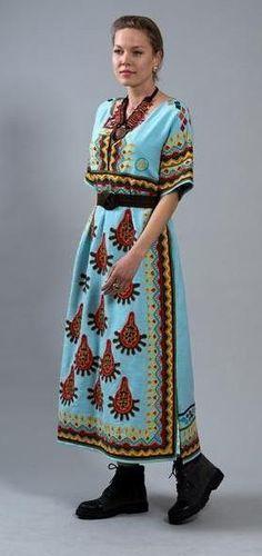 Fanm Mon FW17 TEKA Aqua Blue Vyshyvanka Multi Color Summer Fun Geometric Pattern MIDI Dress