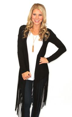 Riffraff | on the fringe cardigan - black | love, love, love....to go with my black wedge booties and new leopard clutch....