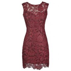 Alythea Metallic Lace Overlay Fitted Dress in Burgundy ($62) ❤ liked on Polyvore featuring dresses, burgundy dress, metallic dress, fitted dresses, red dress and tight red dress