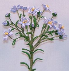 Common Flax  French Bead Flower Pattern at Sova-Enterprises.com Many FREE Bead Patterns and Tutorials available!