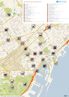 Free Printable Map of Barcelona attractions.
