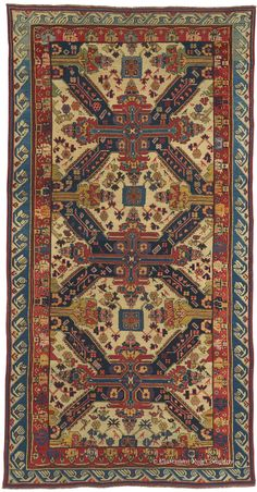 """SEICHUR KUBA, Northeast Caucasian (SOLD), 4ft 7in x 8ft 9in, Circa 1825. This extraordinary Seichur Kuba antique rug is very likely the most spectacular, rarest antique carpet of this prized Caucasian weaving group we have encountered in our 33 years of business. Dating circa 1825, it vividly demonstrates the coveted """"Seichur Cross"""" design long before this motif became standardized in the second half of the 19th century."""