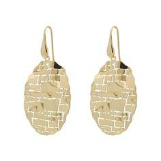 Fronay Co, 925 Italian Vermeil Oval Tiles Dangling Hook Earrings