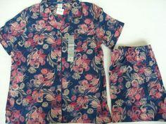 LIZ CLAIBORNE Sleep Shirt & Shorts Pajama Set Size Med Lingerie Navy & Pinks NWT #LizClaiborne #PajamaSets