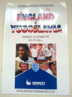 England v Yugoslavia FA International Football Programme 13/12/1989 Listing in the Friendly Internationals,International Fixtures,Football (Soccer),Sports Programmes,Sport Memorabilia & Cards Category on eBid United Kingdom