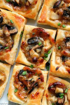 Caramelized onion, mushroom, apple and gruyere bites - Miss-Recipe.com