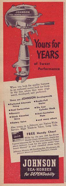 Johnson Sea-Horse Outboard Motor - Popular Mechanics - March 1948, via Flickr.