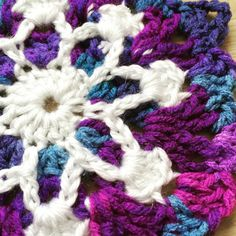 Vortex Garden / I hereby declare, the 'Princess Anna of Arendelle Crochet Motif'! - Frozen inspired snowflake crochet afghan in the making :) Using Red Heart yarn in Grape Fizz with Sparkle Soft in White.