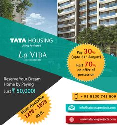 Why should we give up the nature to live in the city? Book your dream home at Tata La Vida from Tata Housing, A green friendly residential community surrounded by more than 1000 trees consist of 8 towers houses 2, 2.5 & 3 BHK world class estate residences starting from Rs. 1.08 Cr. with convenient 30:70 PLP Plan.