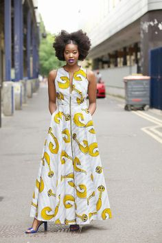 Ankara maxi dress/ African print maxi/ maxi dress/ Maria maxi Yellow by GITAS Portal African Print Dresses, African Wear, African Dress, Africa Fashion, Boho Fashion, Ankara Maxi Dress, Style Africain, Kente Styles, Beautiful Maxi Dresses
