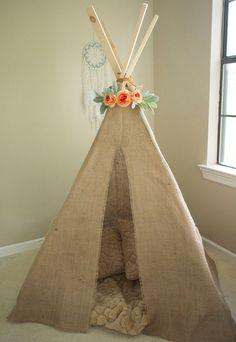 Kids Teepee - Burlap - Rustic - Shabby Chic - Bohemian - Boho Baby Shower Decor - Canvas Coral Neutral - Children's Photography Prop by PoetryTea on Etsy
