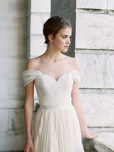Santorini off shoulder organza bridal corset. Custom made wedding dress with Lace & Liberty