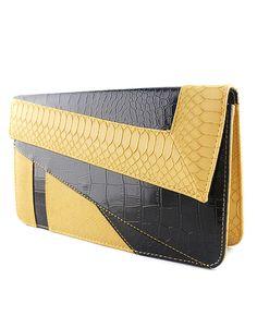 Yellow Black Crocodile Leather Clutch Bag Mobile Site