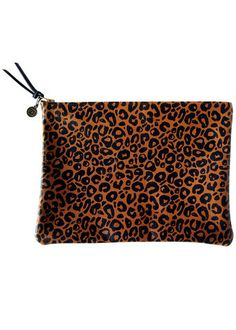 f4c7ea44506 Leather Leopard Print Clutch by Falconwright
