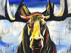 Original art for sale at UGallery.com   Moose by Piero Manrique   acrylic painting   18' h x 24' w